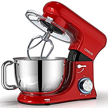 COOKLEE Stand Mixer All-Metal Series 6.5Qt Kitchen Electric Mixer with Dishwasher-Safe Dough Hooks Flat Beaters Whisk & Pouring Shield Attachments for Most Home Cooks SM-1515 Watermelon Red