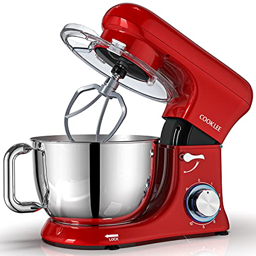 COOKLEE Stand Mixer, All-Metal Series 6.5Qt. Kitchen Electric Mixer with Dishwasher-Safe Dough Hooks, Flat Beaters, Whisk & Pouring Shield Attachments for Most Home Cooks, SM-1515, Watermelon Red