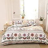 Chanyuan, set di biancheria da letto multicolore con fiori botanici, motivo geometrico, in morbida microfibra, bianco, copripiumino 135 x 200 cm, con chiusura lampo e 1 federa da 80 x 80 cm