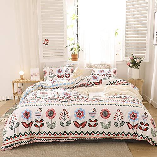Chanyuan Juego de ropa de cama multicolor con flores botánicas y plantas geométricas patrón de microfibra suave blanco funda nórdica 135 x 200 cm con cremallera y 1 funda de almohada de 80 x 80 cm