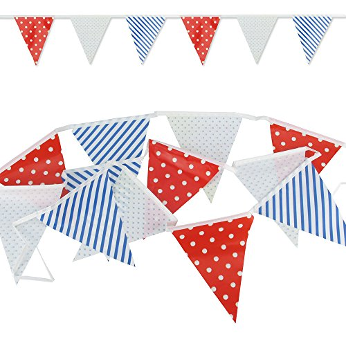 Wimpelkette Retro Design - Blau-Weiß-Rot - Wimpel Flaggen Fahnen