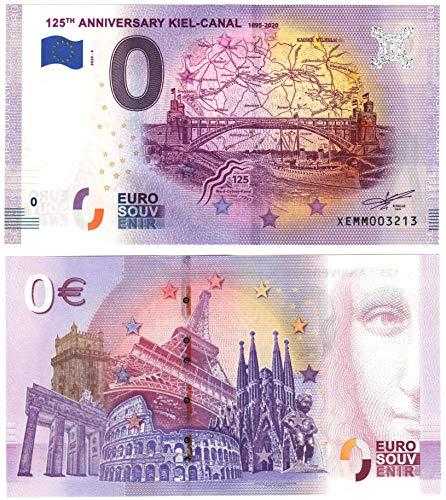 0 Euro Schein 125 Jahre Nord Ostsee Kanal 125TH Anniversary Kiel-Canal - Null Euro Souvenier Banknote mit verschiedenen Sehenswürdigkeiten