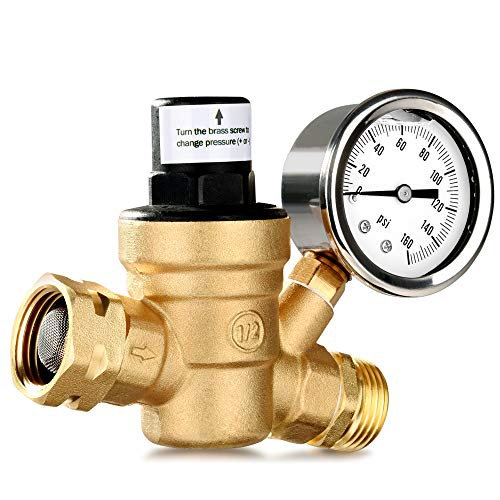 MICTUNING Upgraded Water Pressure Regulator with 0-160PSI Gauge Build-in Oil and Inlet Stainless Screened Filter, Lead-Free Brass Adjustable Pressure Reducer