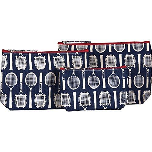 Rockflowerpaper Wimbledon Bolsas de Tênis Azul Marinho para Cosmético, Maquiagem e Viagem - Conjunto com 3