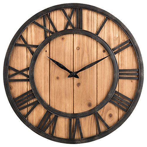 Large Rustic Roman Numeral Battery Operated Wall Clock