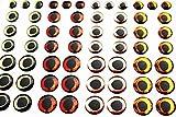 Tigofly 72 piezas mezcladas 4 colores 6/8/10 mm 4D ojos de peces realista holográfico pesca señuelos artificiales ojos