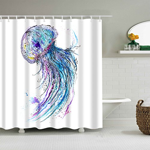 gwregdfbcv Colorful and vivid jellyfish shower curtainBathroom accessories 180X180CM waterproof and mildew shower curtain