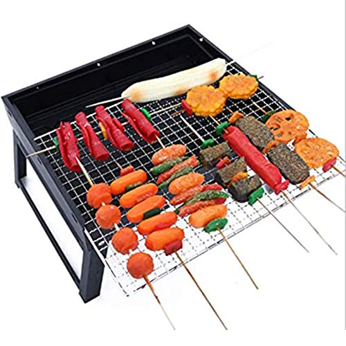 Jeseca Portable BBQ Charcoal Barbecues Grill Foldable Stainless Steel Barbecue Kits for Outdoor Camping Garden Picnic (Color : Black, Size : Small)