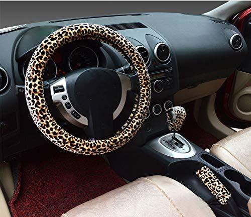 Coprivolante per Auto 3 in 1 Soft Leopard Impugnatura del Freno a Mano Coperchio Leva Leva Coperture 38 cm Breve Peluche Inverno Caldo per Tutte Le Auto (Beige)