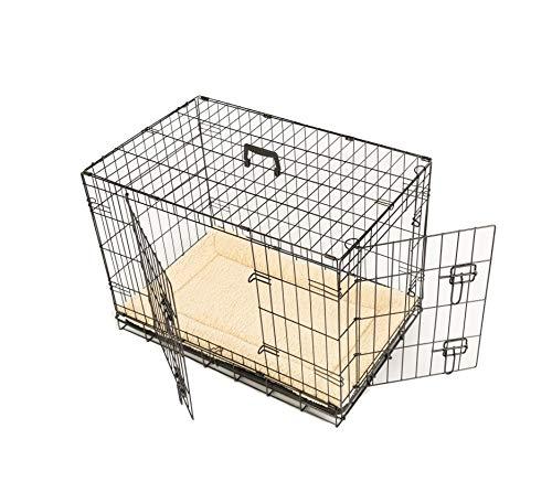 MaxxPet - Cage à Chien, 76 x 48 x 53 cm, avec de bac de Collecte en Plastique, 2 Portes, Couleur Noir