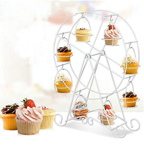 Cratone 8 Cup Muffin Riesenrad Ständer Rotierend 8-Tasse Cupcake Display Stand Dessert Ständer Metall Becherhalter Kuchen Halter für Geburtstag Hochzeit (Weiß)