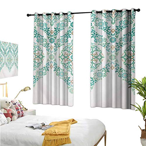 Traditional,Living Room Curtains,Retro Middle Age Symmetrical Traditional Gothic Garland Forms in Pastel Print Green Tan,Isolate Sunlight Dark curtains55x72 Inch
