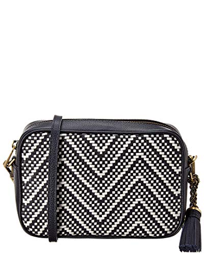 Color/material: admiral blue & optic white woven leather Exterior design details: gold-tone hardware and logo accent, tassel charm Interior design details: printed fabric lining, interior pockets Measures 8.5in wide x 6in high x 2.5in deep Adjustable...