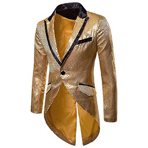 KPILP SakkosMen\'s Anzugjacken Tuxedo Fashion for Party Handsome Oberteile Charm Casual One Button Fit Suit Blazer Coat Jacket Autumn Winter(Gold,EU-56/CN-L