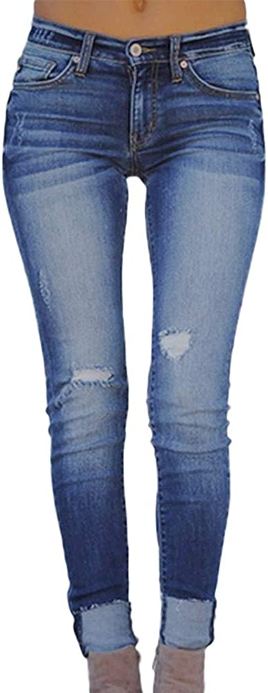 Women Fashion Casual Slim Low Rise Elastic Plus Loose Hole Denim Small Feet Cropped Jeans