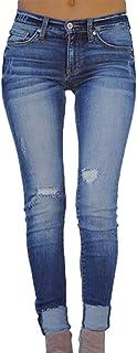 デニム パンツ スキニー レディース Yumiki ストレートパンツ ロング 夏 ゆったり パンツ ハイウエスト ズボン ジーンズ ズボン穴がある BF風 韓国 無地 カジュアル ファッション パンツ