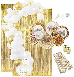 Gold Party Decorations (25) Gold Paper Straws (10) Gold Confetti Balloons (10) Gold Balloons (8) Paper Fans (2) Gold Foil ...