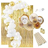 Gold Party Decorations: Gold Graduation Decorations, Gold Decorations White Balloon Garland Kit Gold Paper Fans Gold Foil Curtains New Years Birthday Bachelorette Toga Gatsby 1920s 2020