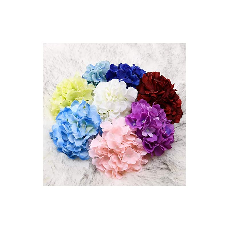 silk flower arrangements aviviho royal blue hydrangea silk flowers heads with stems pack of 10 full hydrangea flowers artificial for wedding home party shop baby shower decoration