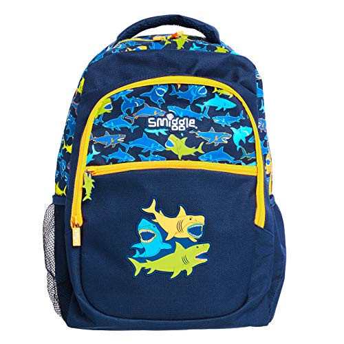 Smiggle Tropicool Kids School Backpack for Boys & Girls with Laptop Compartment & Dual Drink Bottle Sleeves | Shark Print