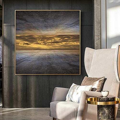 KWzEQ Landschaftsplakate auf Leinwand mit hochwertiger Außenwand des Himmels für die Dekoration des Wohnzimmers,Rahmenlose Malerei,45x45cm