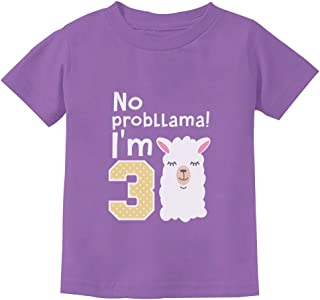 Gift for 3 Year Old Girl No Probllama 3rd Birthday Toddler Kids T-Shirt