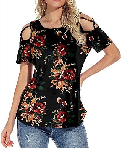 Camiseta de Primavera y Verano para Mujer, Estampado y teñido, Cuello Redondo, Jersey Suelto, Mangas Cortas, Camiseta Fresca y Dulce para Mujer