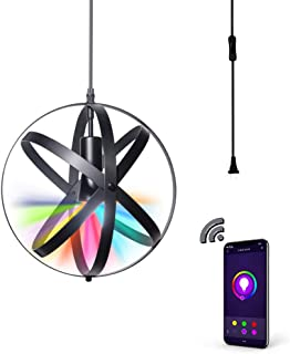 MLGB Alexa WiFi Smart Pendant Light,Dimmable Multicolored Color Changing LED Island Light, Industrial Metal Spherical Displays Changeable Hanging Lighting with 15 Ft Cord and Plug Easy to Install