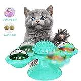 BESLIME Molino de Viento Gato Juguete, Juguetes para gatos con Catnip y bola intermitente LED Plato giratorio Burlas Juguete interactivo, Azul