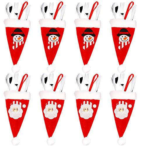 8pz Mini Cappello di Natale Portaposate Natalizie Decorazioni per Albero di Natale Tavola Tavolo da Appendere Tasche Babbo Natale Pupazzo di Neve, Sacchetto Porta Caramelle Supporti per Posate