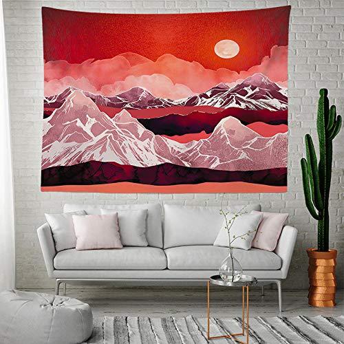 BBAGG Nordic Pink Tapisserie Wandbehang Abstrakt Berg Sonnenuntergang Weltkarte Mandala Wand Teppich Dekor Home Living Decke Yoga Matratze-2201_130 * 150