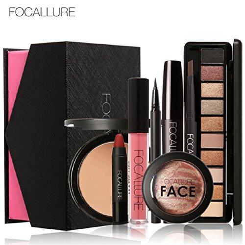 Vovotrade FOCALLURE Make-up-Set Augenschatten Mascara Lippenstift Fashion Schöne einfache Make-up_A