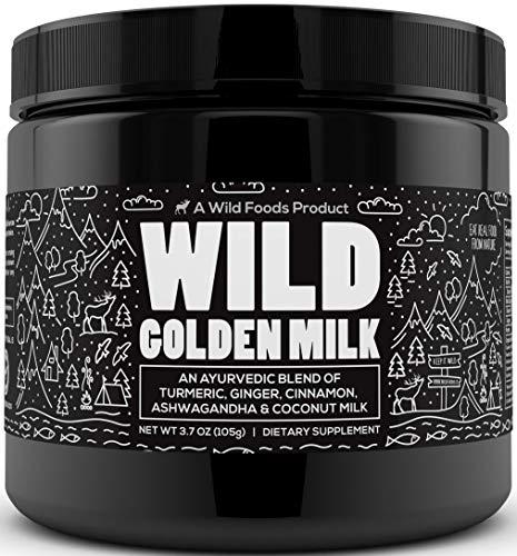Wild Organic Golden Milk Powder - an Ayurvedic Blend of Coconut Milk, Ginger, Cinnamon, Ashwagandha & Turmeric with Black Pepper- Helps Calm, Relax, Restore- Keto, Non-GMO, Gluten Free - 3.7 oz