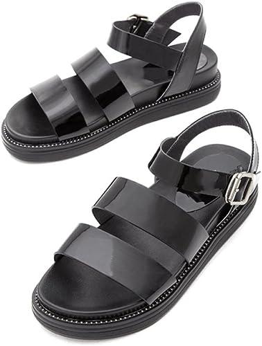 DHG Chaussures de de Muffin Rétro Occasionnels d'été, Sandales épaisses Sauvages, Sandales de Les Les dames d'été,Noir,38  vente chaude en ligne