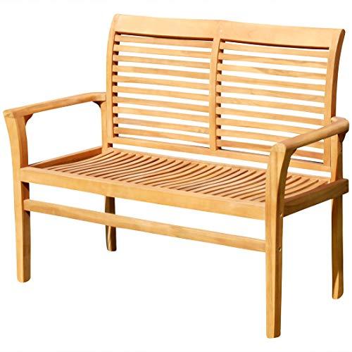 ASS Teak Design Gartenbank Parkbank Sitzbank 120cm 2-Sitzer Bank Gartenmöbel Holz sehr robust JAV-ALPEN120