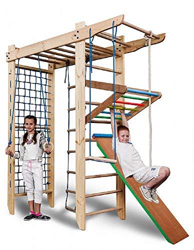 KIND Turnwand Gym Klettergerüst ˝Spartak-5-220˝ Holz Sportgerät Kletterwand Sprossenwand mit Stange Fitness