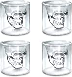 Viktorwan Skull Glasses, Shot Glasses,Funny Crystal Drinking Cup,Creative Whiskey Glasses,Double Wall Cool Beer Cup for Wine Cocktail Vodka,Home Halloween Party Bar Gift, set of 4, 75ml