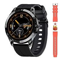 👍 【Smartwatch per Uomo e Donna】 - Smartwatch touchscreen IPS rotondo da 1,3 pollici, utilizza uno schermo a colori di fascia alta, un elegante schermo in alluminio anodizzato + acciaio inossidabile 316L, con cintura in silicone in due colorazioni (ne...