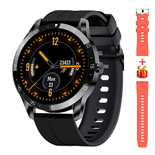 Blackview X1 Smartwatch, Smart Armbanduhr Herren Damen Fitness Tracker Smart Watch Rund 5ATM Wasserdicht Fitnessuhr mit Pulsuhr Schrittzähler Stoppuhr Wearable Sportuhr Kompatibel iOS Android Handy