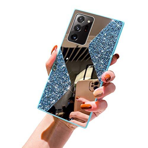 URFEDA Kompatibel mit Samsung Galaxy Note 20 Ultra Handyhülle Überzug Spiegel,Silikonhülle mit 360 Grad Ring Ständer Glitzer Bling Strass Diamant Hülle Schutzhülle Durchsichtig Clear Case,Hellblau