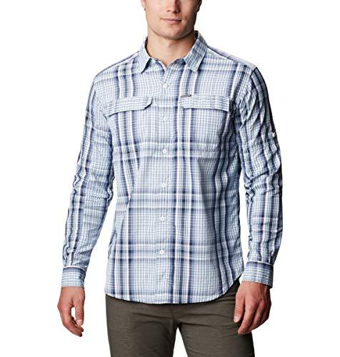 Columbia Men's Silver Ridge 2.0 Plaid Long Sleeve Shirt, Sky Blue Multi Plaid, Medium