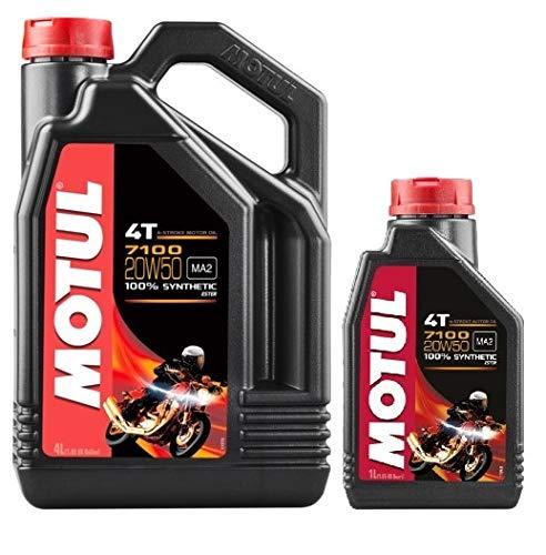 MOTUL Pack Motor Motos 100% Sintetico 7100 4T 20W-50, 5 litros
