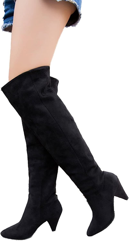 Women Long Boots Thigh High Heels Boots Over Knee Wide Calf Loose Boots