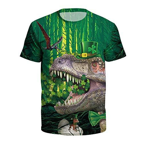 Camiseta de manga corta para hombre y mujer, diseño de dinosaurio de San Patricio con estampado 3D Dinosaurio animal. XXL