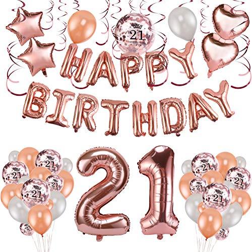 HOWAF Rose Gold 21. Geburtstag deko für Frau und Mädchen, 59 Stück Happy Birthday Girlande Banner Luftballons Set Helium Folie Herz Ballon für 21 Geburtstag Dekoration