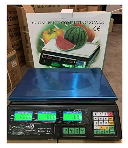 ZBYL Stainless Steel High Precision Digital Electronic Platform Scale Electronic Computing Scales With LCD Display For Fruits Vegetables Aquatic Products Kitchen 926 (Size : 40kg/2g)