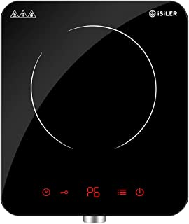 Electric Induction Cooktop, iSiLER 1800W Sensor Touch Portable Induction Cooker Cooktop with Kids Safety Lock, Rotary Knob Countertop Burner Suitable for Cast Iron, Stainless Steel Cookware