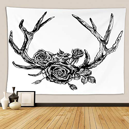 Bohemian Tapestry,Elk Reindeer Antlers And Roses Hipster Tattoo Ink White Boho Rustic Style Skull,Wall Hanging Mass Wall Tapestry for Bedrooms Living Room Blankets Wall Decor 50x60 Inch