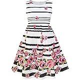 Sunny Fashion Robe Fille Noir Rayé Rose Fleur Robe d'été 7-8 Ans
