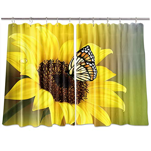 KOTOM Rustic Sunflowers Kitchen Curtains, Butterfly in Cuntry Floral, Window Curtain Treatment Panels Valance, Drapes Hooks Included 55X39in